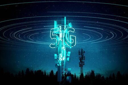 5G mobile signal Communication Mast (cell tower) Super fast data streaming concept. 3D illustration. 写真素材