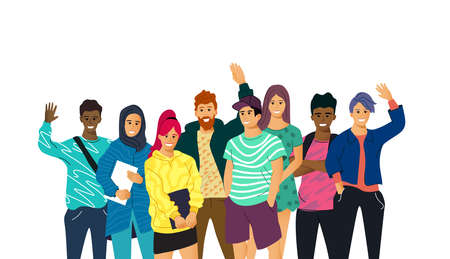 A collection of multicultural  young adult students smiling and waving isolated on a white background. People vector illustration.
