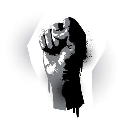 Stencil graffiti effect rising fist. Human rights, protest and demonstration vector illustration  イラスト・ベクター素材