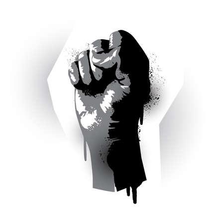 Stencil graffiti effect rising fist. Human rights, protest and demonstration vector illustration Illusztráció