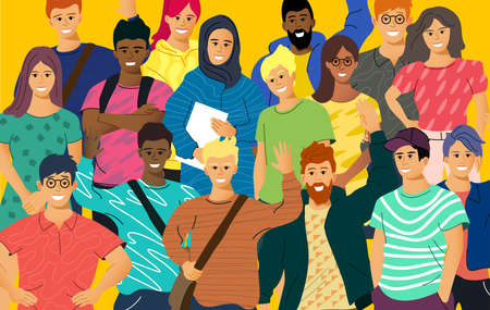 A crowd of multicultural casual young adults. people vector illustration.