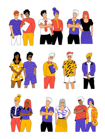 A collection of casual workers, individuals, and community. People posing vector illustration.