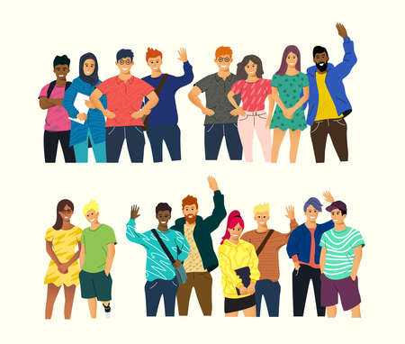 A collection of young happy people standing and smiling. Community and multicultural vector people illustration.