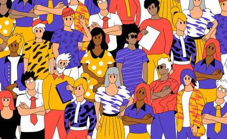 A crowd of social casual people. Creative team members and professionals. Vector illustration  イラスト・ベクター素材