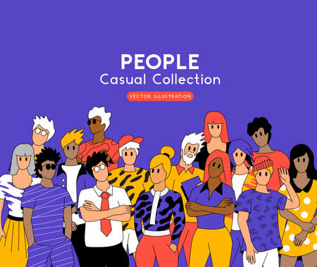 A large group of relaxed casual people. Team and community vector illustration.