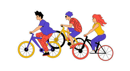 Active people characters outdoors on bikes cycling. Fit and active bicycle lifestyles vector illustration.