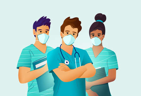 Key medical workers, nurses and doctor, wearing face masks. Vector people illustration.