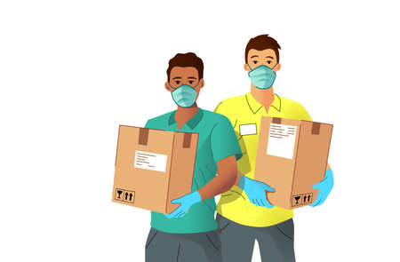 Customer Delivery services. Delivery men holding customer parcels and wearing PPE, protective gloves and face masks. People vector illustration  イラスト・ベクター素材