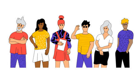 Team of working professional characters.Team building, People characters vector illustration.  イラスト・ベクター素材