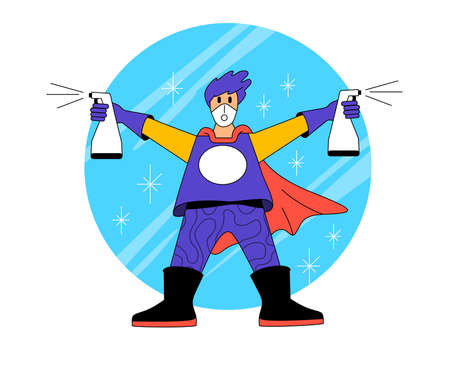 Super hero cleaner. A person dressed as hero wearing protective clothing and carrying two bottles of antibacterial disinfectant cleaner, keeping everything super clean. Vector illustration