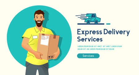 A happy delivery man smiling and holding a parcel for delivery. People vector illustration.