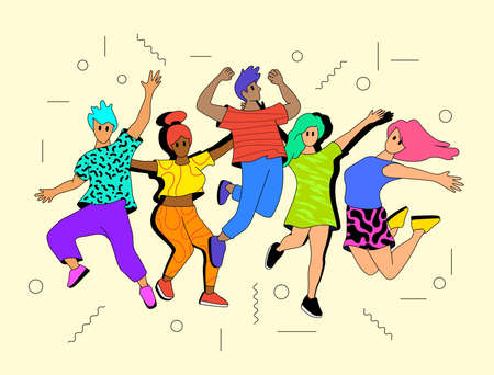 Youthful vibrant happy people jumping into the air. Successful and healthy people characters vector illustration