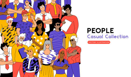 A collection of casual people standing. Creative team members and professionals. Vector illustration  イラスト・ベクター素材