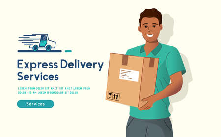 Express delivery. A cheerful delivery man holding a customer parcel. People vecot illustration.