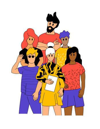 The power of working together. A team of  happy young professionals. Team building, People characters vector illustration.  イラスト・ベクター素材