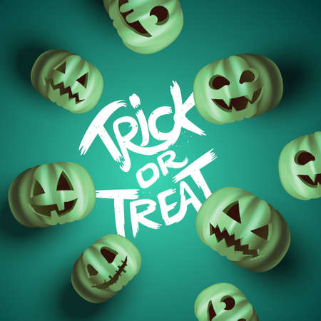 A group of scary Jack O Lantern pumpkin faces with trick or treat text. Realistic vector illustration.