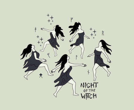 A group of dancing witches dance in a circle at night. Witchcraft charm and spells vector illustration,