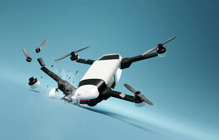 A flying drone crashing into the ground and breaking. 3D illustration