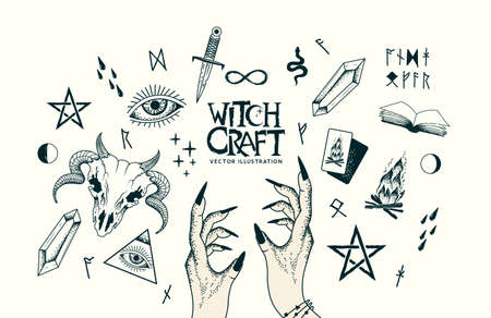 Witchcraft, wicca and pagan handmade craft elements with hands, a ram skull with horns, magic healing crystals and symbols. Vector illustration.
