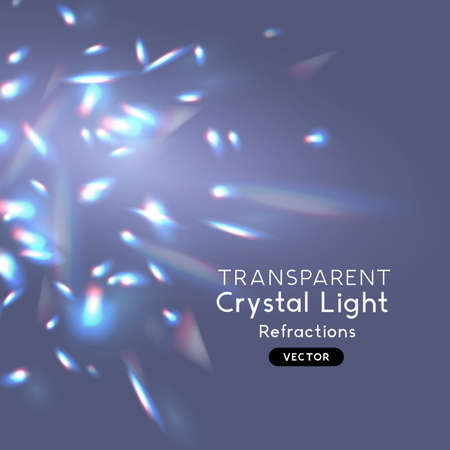 Crystal light effect reflections and refractions. Overlay pattern for backgrounds. Vector illustration.