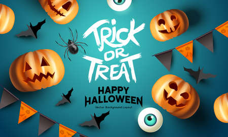 Spooky happy halloween event mockup design background. including bats, party bunting, and grinning jack o lantern pumpkins. Vector illustration.  イラスト・ベクター素材