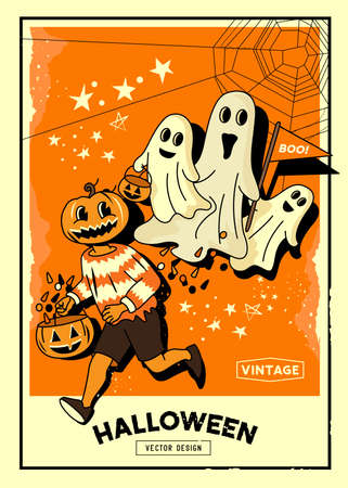 Spooky vintage halloween event layout background with trick or treat characters and ghosts. Vector background illustration.