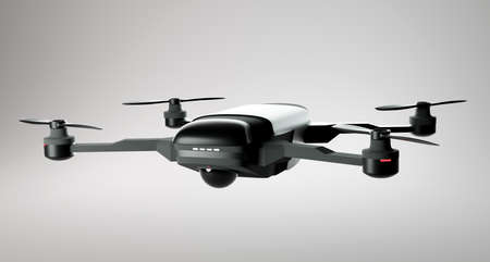 A modern drone in mid flight. Commerical and consumer level drone quadcopter. 3D illustration.