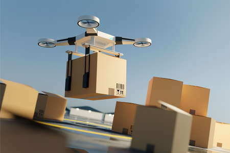 A Drone quadcopter lifting off the ground carrying a large parcel. Drone delivery service. 3D illustration. 写真素材