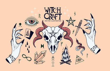A collection of witchcraft signs and traditional symbols. Hand craft elements with crystals, a ram skull, witch hands, spells and charms.  イラスト・ベクター素材