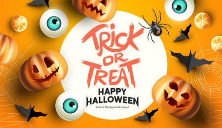Spooky and fun happy halloween event mockup design background. including bats, sweets, and grinning jack o lantern pumpkins. Vector illustration.