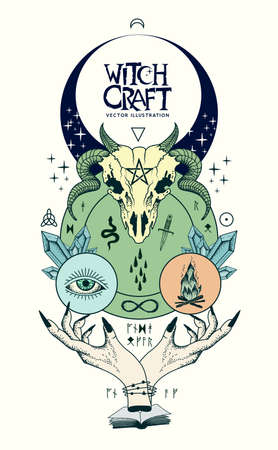 Vector illustration of witchcraft, wicca and pagen signs and symbols banner with witch hands casting a spell, healing crystals, skulls and runes.
