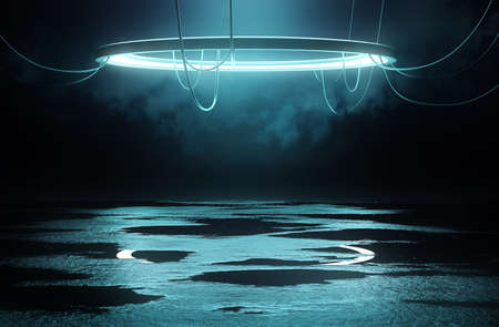 Illuminated Stage platform and lighting concept with a circular loop light and reflective flooring with wet puddles. 3D illustration.