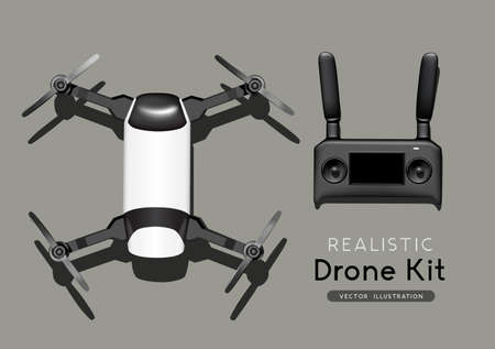 A model flight drone and controller set. top view, flat lay composition. Realistic vector illustration.