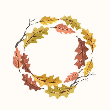 An Autumn fall harvest wreath made with natural leaves. Vector illustration.  イラスト・ベクター素材