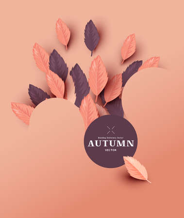 Abstract autumn layout design with fall leaves. Vector illustration