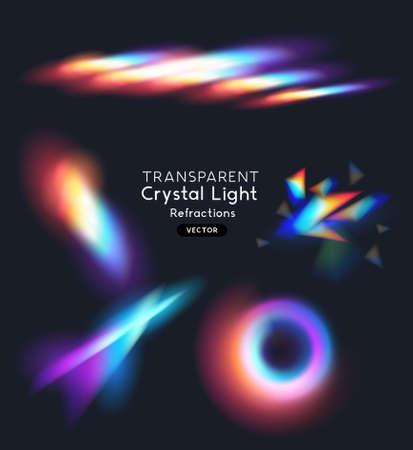 A set of crystal rainbow light streak refraction effects. transparent vector illustration.  イラスト・ベクター素材