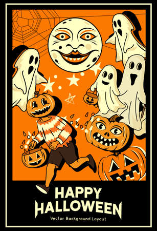 Vintage spooky halloween decoration elements layout design with pumpkin character and playful ghosts. Vector illustration  イラスト・ベクター素材