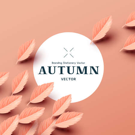 Autumn paper leaf background compostion layout. Modern seasonal fall design with copy space. Vector illustration.  イラスト・ベクター素材