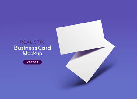 Realistic floating business branding cards template mockup layout with shadows. Vector illustration  イラスト・ベクター素材