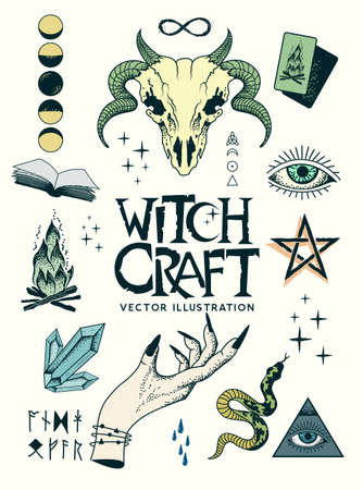 Occult witchcraft signs and symbols with charms, spells and runes. including ram skull, witch hands and crystals. Vector illustration.