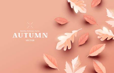 Autumn paper leaf background design layout. Fall Vector illustration  イラスト・ベクター素材