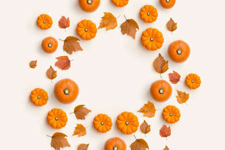 Halloween Autumn fall contemporary background composition with pumpkins and leaves in a circle shape.
