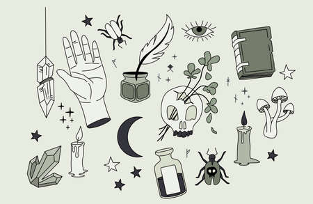 A collection of magical spells and occult elements. Vector illustration