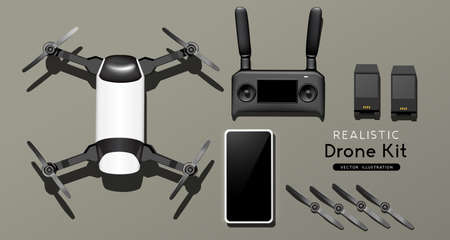 A flight drone and controller set. top view, flat lay composition. Realistic vector illustration.