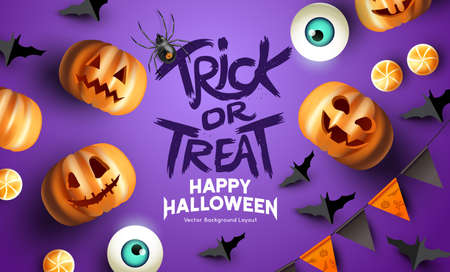 Fun Purple happy halloween event mockup design background. including bats, party bunting, and grinning jack o lantern pumpkins. Vector illustration.