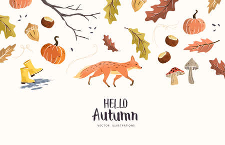 Hello Autumn! Natural hand crafted fall seasonal elements. Vector illustration  イラスト・ベクター素材