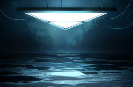 Stage lighting and an empty platform concept with a  reflective flooring with wet puddles. 3D illustration.