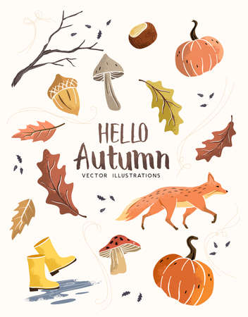 Autumn season composition hand crafted fall elements with leaves, mushrooms and pumpkins. vector illustration.  イラスト・ベクター素材