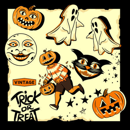 Vintage style happy halloween characters and objects, trick or treat, pumpkins and ghosts! Vector illustration  イラスト・ベクター素材