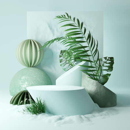 Contemporary Studio platform background with plants and abstract shapes. Mint coloured stage 3D illustration Zdjęcie Seryjne